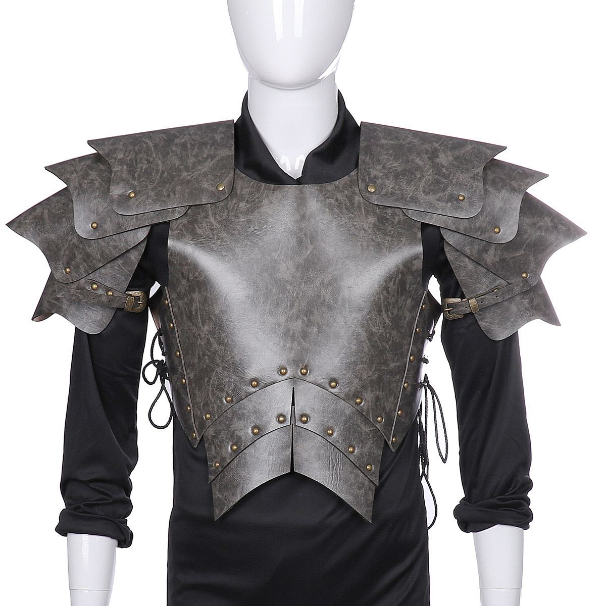 Warrior Lace-up Men Armor Samurai Adult Stage Party Cosplay Costume Soft Halloween Gift PU Leather Photo Props(China)