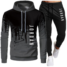 Pullover Sportswear Outfit Sets Suit Hooded Drawstring Two-Piece-Set Male Winter Casual