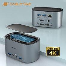 Cabletime usb encaixe 13 em 1 hub 4k 60hz hdmi pd100w m.2 ssd gabinete rj45 lan adaptador 1000mbps usb3.0 estação de trabalho c390