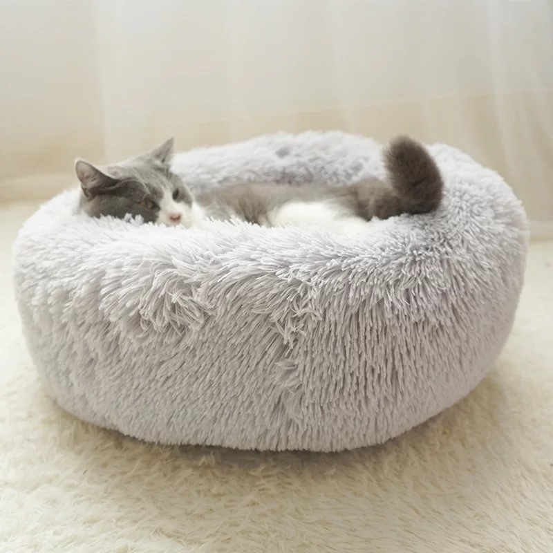 Round Plush Cat Bed House Soft Long Pet Dog For bed Nest Winter Warm Sleeping Puppy Mat