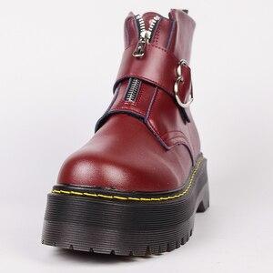 Image 2 - Милые ботинки на платформе; женская зимняя обувь; коллекция 2019 года; модная женская обувь из искусственной кожи на молнии; ботильоны с пряжкой в форме сердца