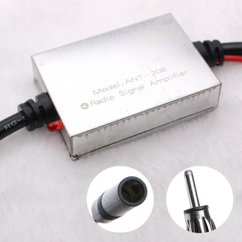FM Signal Amplifier Anti-interference Metal Car Antenna Radio Universal Auto Booster Amp For 12V Vehicle Boat