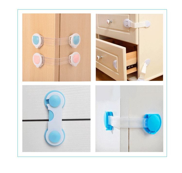 Imebaby Child Safety Refrigerator Lock Baby Anti-pinch Hand Drawer Door Lock Child Protection Multifunction Lock 5pc