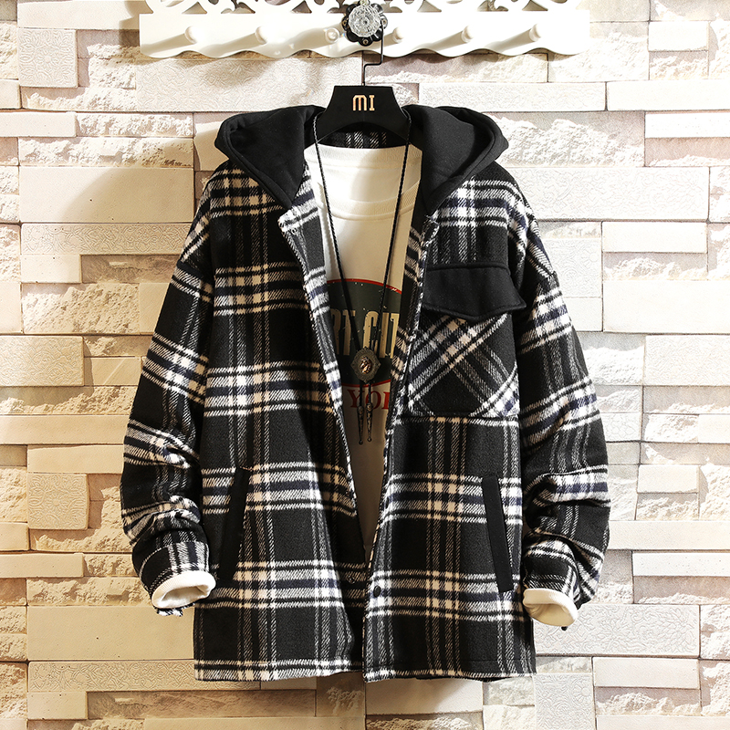 2020 Men Jacket Brand Plaid Casual Hooded Collar Bomber Coats Autumn Winter Jackets Clothes