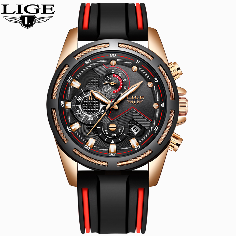 LIGE Men's Chronograph Analog Quartz Watch with Date Luminous Hands Waterproof Silicone Rubber Strap Wristswatch for Man + Box
