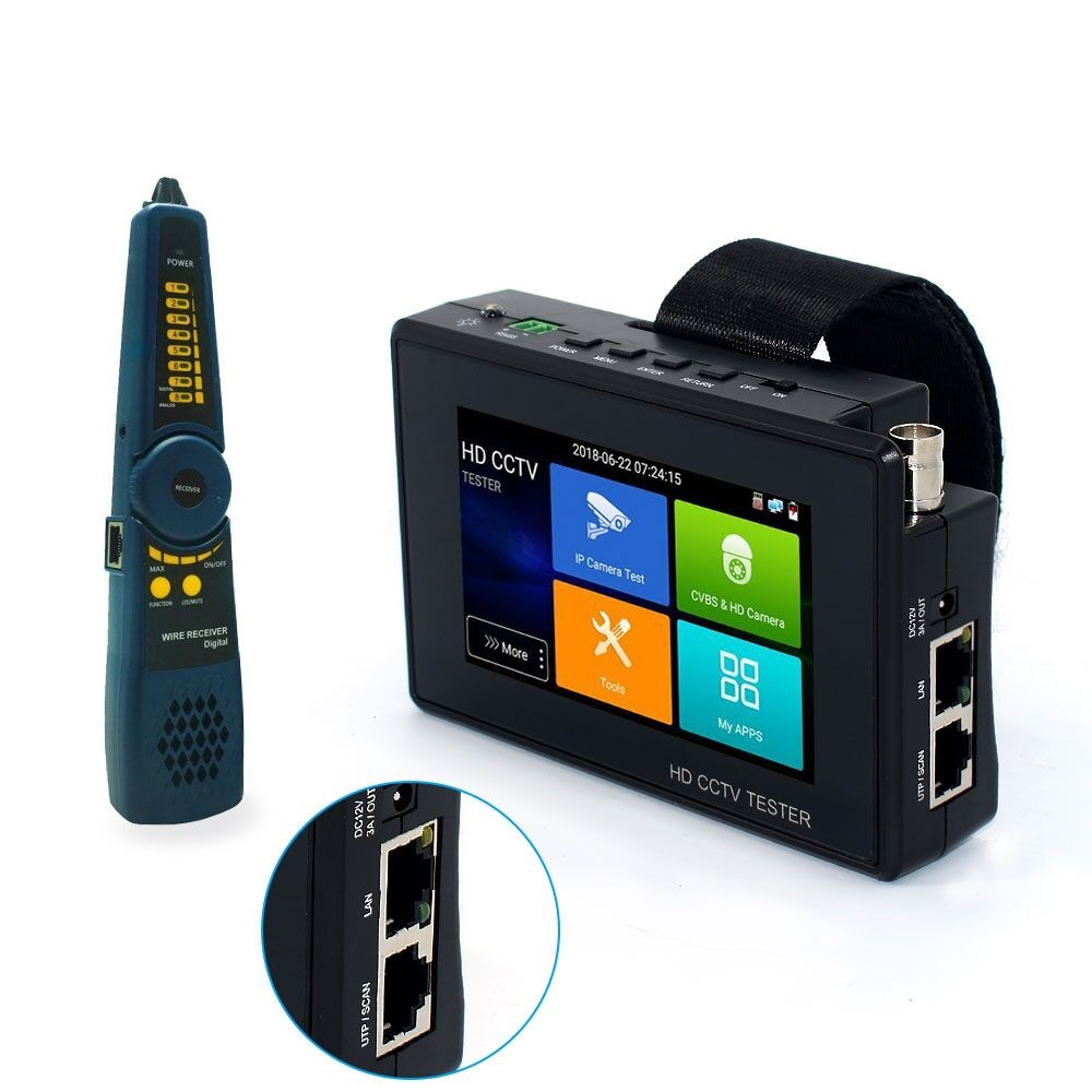 PC1800plus 1080P 5-IN-1 TVI AHD CVI Analog IP CCTV Camera Tester Build In Battery Security Tester Monitor Video Audio Test PTZ