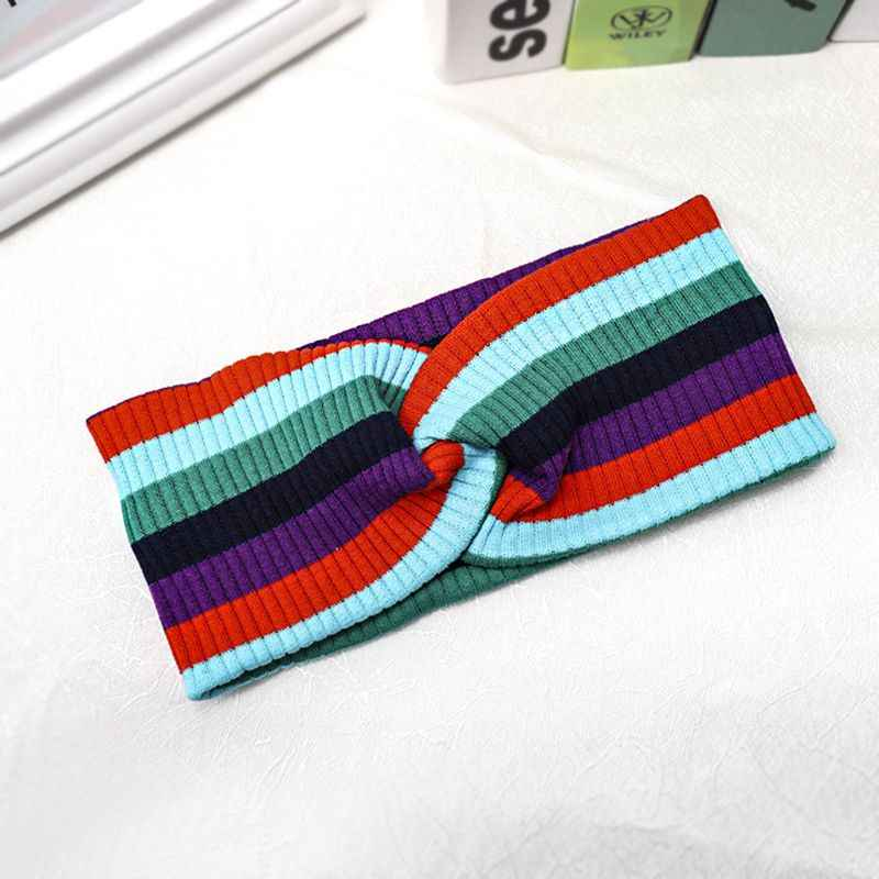 Wide Head Band Romantic Rainbow Stripes Elastic Stretch Satin Head Wrap Ribbon Casual Fitness