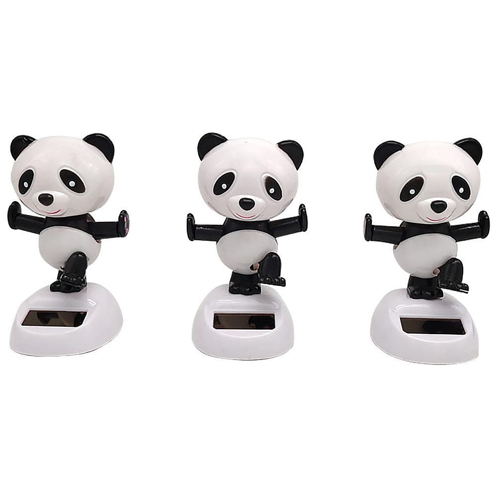 Car Decoration Shaking Head Doll Auto Accessories Solar Power Toy Swinging Panda Car Interior Kids Toys Gift Car-styling