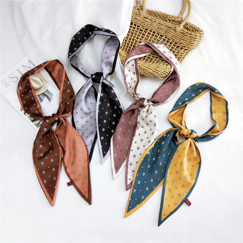 2020 New Spring Summer Long Skinny Polka Dot Neck Scarf Bandana Neckscarf Women Handbag Bag Handkerchief Hair Headband Scarfs