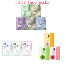 11Pcs mixed Silk protein Plant flowers Face Mask extraction Moisturizing Whitening Anti-Aging Oil-control Facial Masks skin care