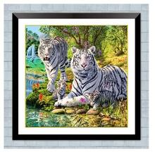 New DIY Diamond Painting Tiger Family  5D Round Embroidery Landscape Animal Cross Stitch christmas decorations
