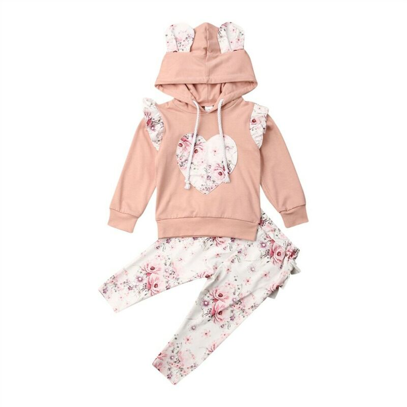 Spring And Autumn  Baby Girl Clothes Heart Pink Newborn Baby Girl Hooded Tops Sweatshirt Ruffle Long Pants Outfits Clothes 2PCS