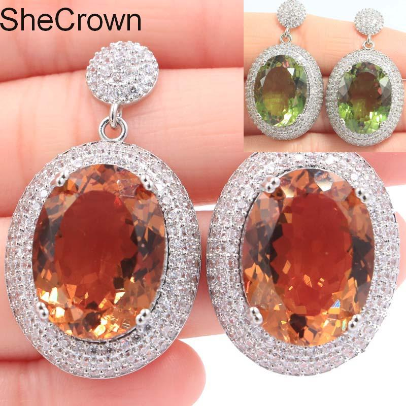 Ny ankomst Big Gemstone Changeing Color Spinel White CZ Woman's Gift Silver Earrings 40x22mm