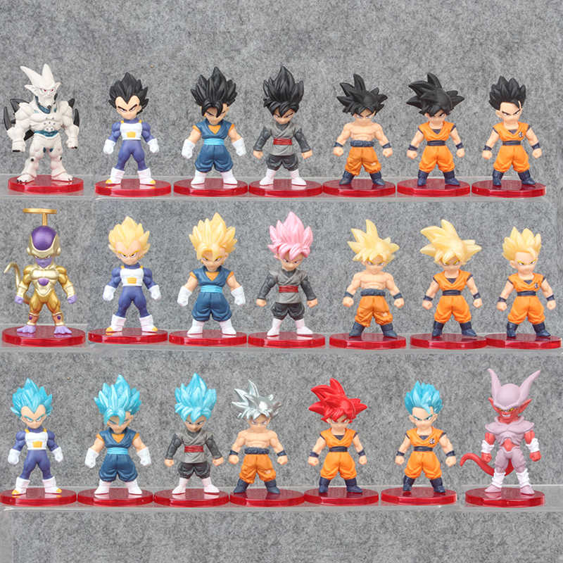 21 pçs/lote figura de ação dragon ball super saiyan son goku vegeta frieza vegetto pvc figura anime collectible modelo brinquedo presente