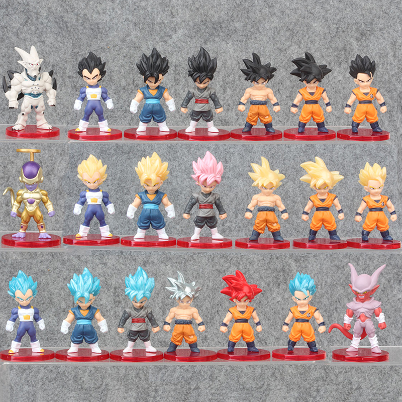 21pcs/lot Action Figure Dragon Ball Super Saiyan Son Goku Vegeta Frieza Vegetto PVC Anime Figure Collectible Model Toy Gift