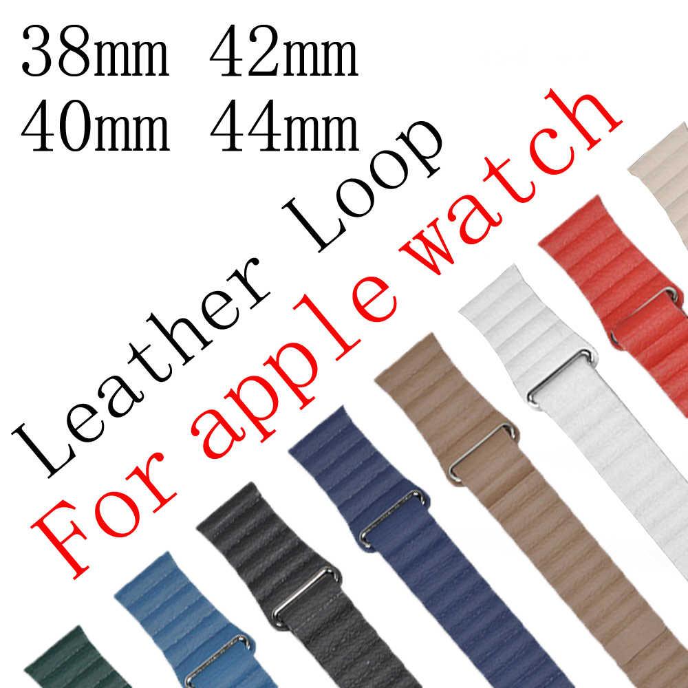 Skórzany pasek pasek dla apple watch 5 apple watch 4 40mm 44mm korea pasek do iwatch 42mm 38mm zegarek na bransolecie akcesoria