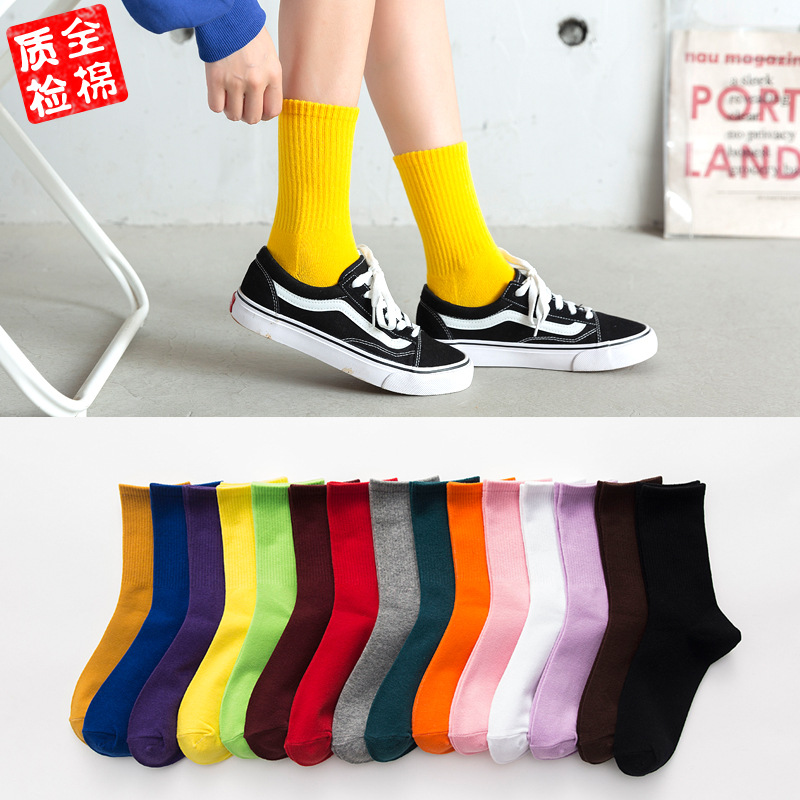 1PAIR Women lady girl harajuku lovely cute candy colour   Socks   summer cotton   Socks   For Female male Funny sokken Meias sox