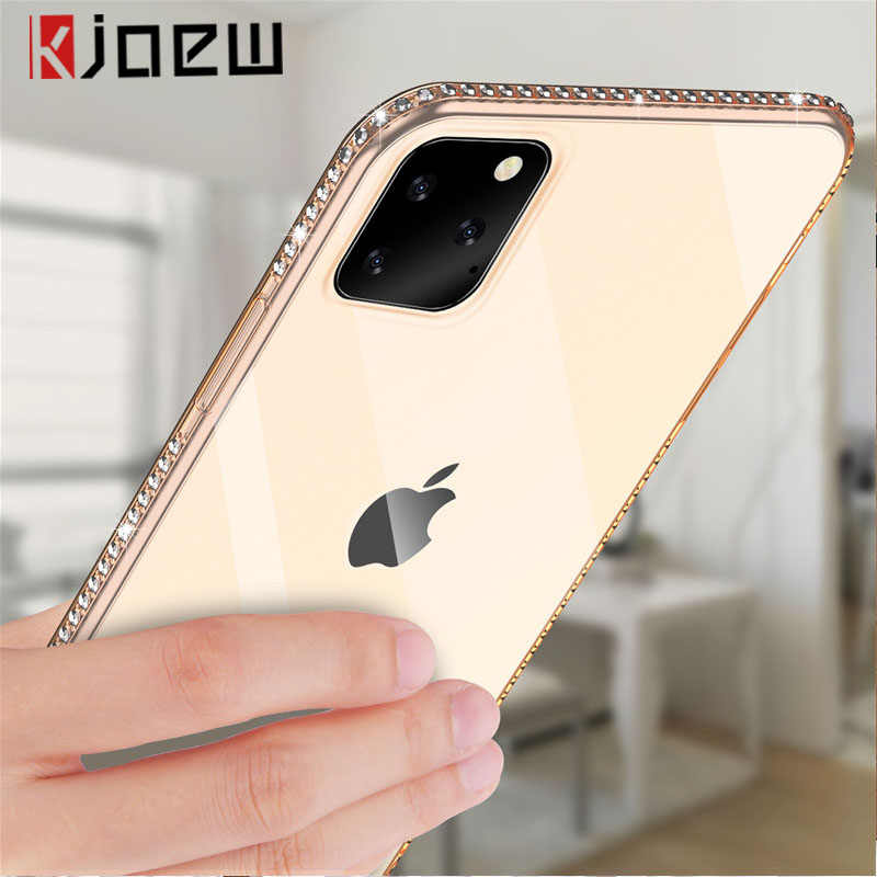 KJOEW Phone Case For iPhone 7 X XR XS MAX 8 6 6s Plus 11 Pro Max Bling Diamond Transparent Crystal Soft TPU Back Cover Cases
