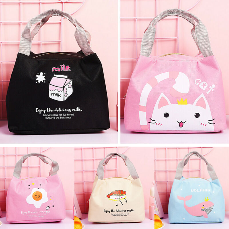 2020 Newest Hot Woman Cute Cartoon Pattern Print Lunch Bag Insulated Cool Carry Storage Food Picnic Bags Office School Lunchbox