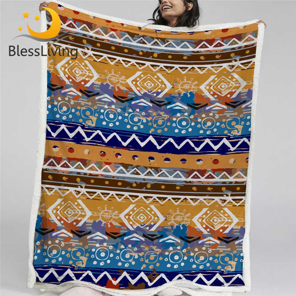 BlessLiving Boho Streifen Plüsch Bettdecke Böhmischen Decke Orange Braun Sherpa Fleece Decke Aztec Ethnische Tribal Decke