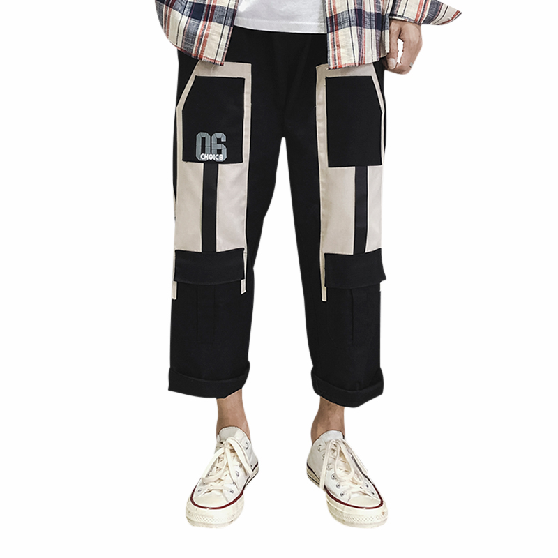 Men's Casual Pants Loose Colorblock Cropped Wide Leg Workwear Youth Pop Trousers Male Harajuku Fashion Men Pants Overalls