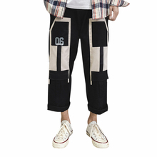 Men's Casual Pants Loose Colorblock Cropped Wide Leg Workwear Youth Pop Trousers Male Harajuku Fashion Men Overalls