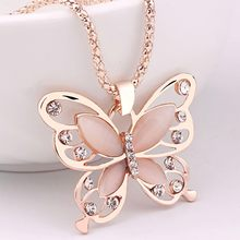 New Rhinestones Butterfly Pendant Necklace Fashion Women Girls Rose Golden Opal Sweater Chain Necklace Fashion Jewelry 2020(China)