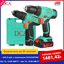DCA Electric Drill Cordless Screwdriver Hand Power Drill Set Tool Kit Mini Drill Machine Battery Screwdriver for Ice Screws