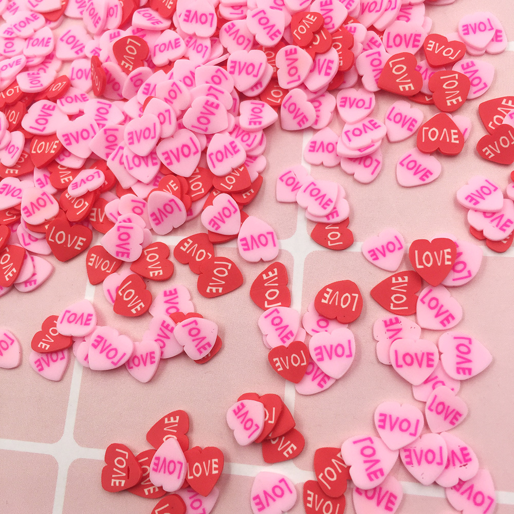 100g Love Heart Slices Polymer Hot Clay Sprinkles Fiom For Crafts DIY Valentine's Day Wedding Decoration Slime Material: 5mm