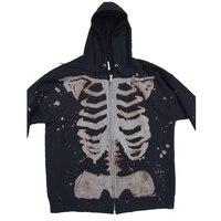 Sudadera Vintage de los 90 con estampado de esqueleto gótico para mujer, chaqueta con cremallera, sudaderas de gran tamaño Y2K Punk Hip Hop Grunge