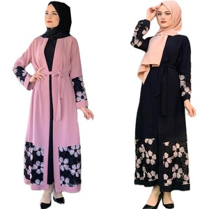 Open Abaya Muslim Women Long Dress Printed Kimono Patchwork Islamic Ramadan Eid Maxi Robe Thawb Arab Caftan Jilbab Gown Fashion
