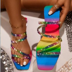 Women's Slippers Rhinestones Sandals Candy Color Ladies Bling Rainbow Flat Shoes Female Slides Flip Flops Summer Beach
