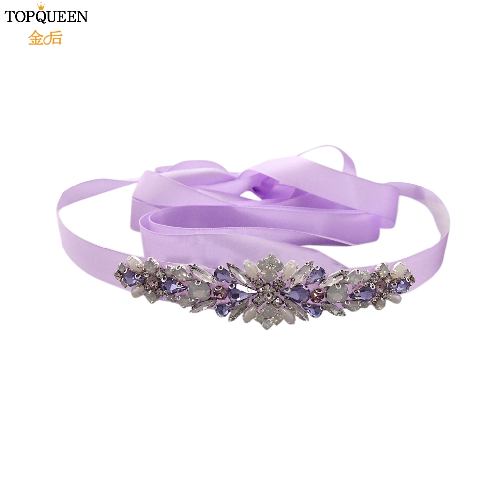 TOPQUEEN Colorful Rhinestone Belt Bridal Sash Belts Gorgeous Bridesmaid Decorative Belts Diamond Applique Belt Wedding Belt S451