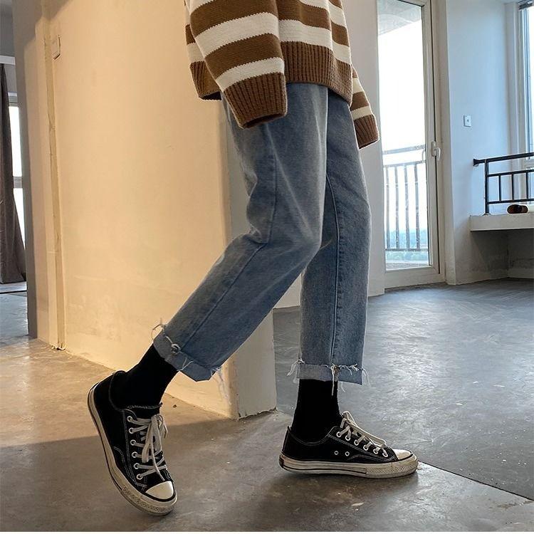 2020 Ins Korean Bag Jogging Street Sports Mens Jeans For Hombre Men's Blue Nine Pants Casual Cotton Soft Large Size Jeans Men