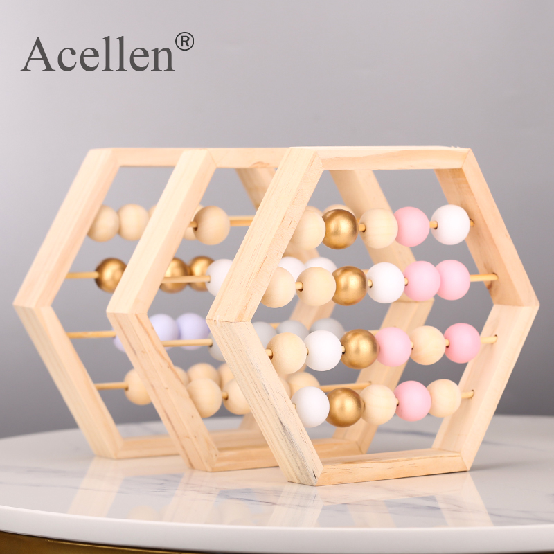 Nordic Style Natural Wooden Abacus with Beads Craft Baby Early Learning Educational Toys Scandinavian Style Child Room Decor(China)
