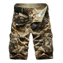 Nova carga shorts homens design superior camuflagem militar do exército cáqui shorts homme verão outwear hip hop carga casual camo shorts