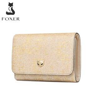 Image 1 - Foxer damski luksusowy portmonetka damski portfel na karty Split skórzany damski portfel damski Chic mała kieszonka na monety