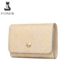 Foxer女性高級マネー財布女性カードホルダー分割女性マネー財布女性シックな小さなコインポケット