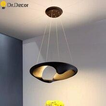 Nordic White and Black Led Pendant Lights Creative Art Ellipse Restaurant Living Room Pendant Lamp Aluminum Hanglamp Luminaria