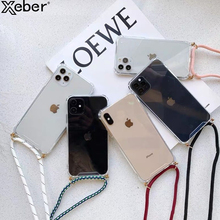 Fashion Crossbody Strap Lanyard Case For iPhone 11 12 Pro XS Max Mini XR X 8 6 6S 7 Plus SE Necklace for Carry Clear Soft Cover