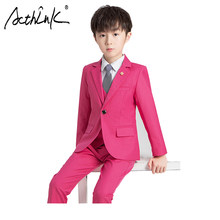 ActhInK 3Pcs Boys Pink Formal Clothing Set New Boys Pink Wedding Suit Big Boys Wedding Khaki Suit Boys Spring Khaki Clothes Set(China)