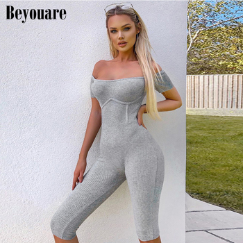 Beyouare Sexy Short Sleeve Playsuit Skinny Square Collar Summer Women Fitness Slim Sexy Casual Jumpsuit Rompers Female Playsuit