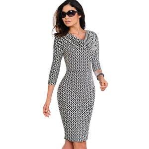 Image 4 - נחמד לנצח נשים בציר ללבוש לעבודה אלגנטית vestidos המפלגה עסקי Bodycon נדן משרד לפרוע נשי שמלת B452