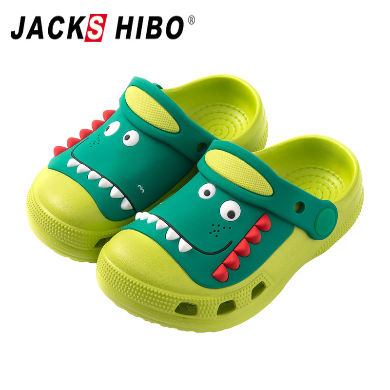 JACKSHIBO Boys Girls Clogs Toddler Little Kids Slipper Cartoon Dinosaur Garden Beach Water Shoes Slip On Lightweight Sandals