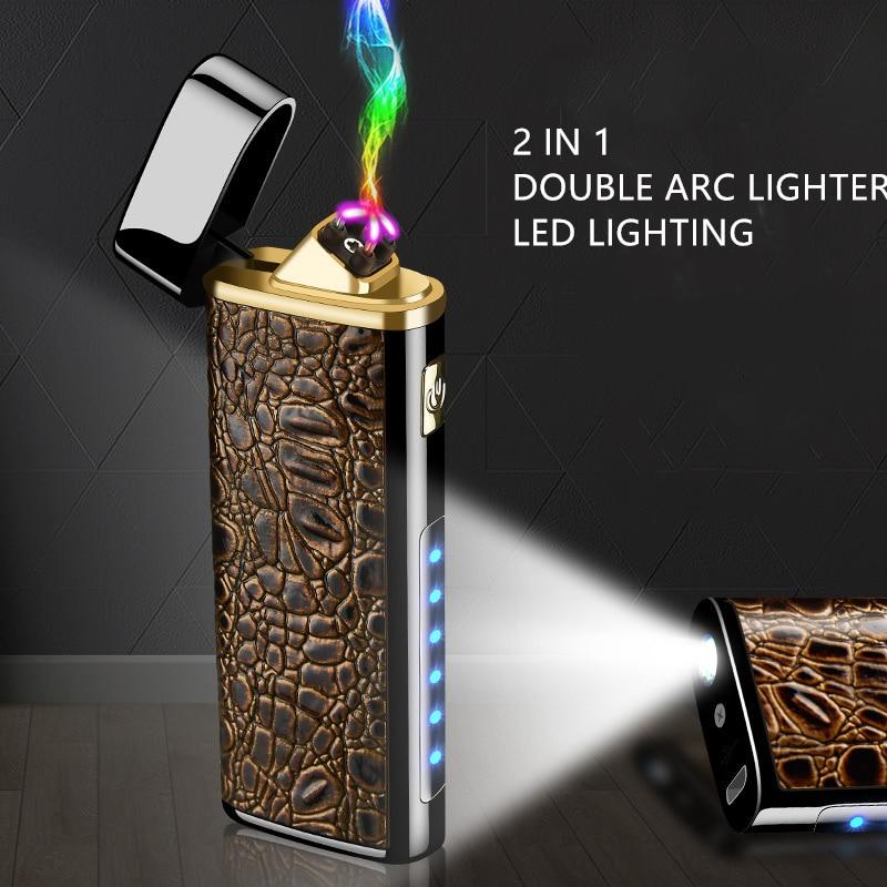 Plasma USB Lighter Cigarettes For Smoking Accessories Cigar Mult-function Electronic Lighter Super Thin Pocket Lighter AL004