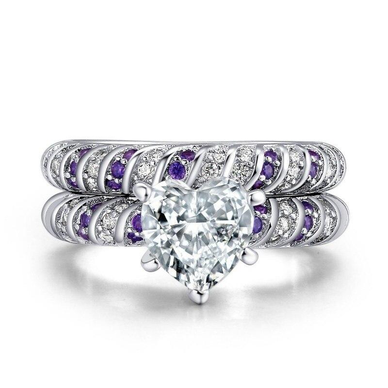 Carofeez Fashion Heart Women Ring Set Elegant White/Purple Zircon Rings For Women Jewelry Bridal Engagement Wedding Band Gift