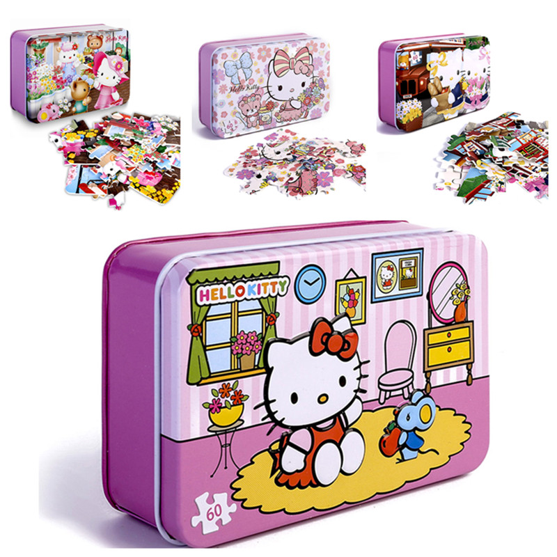 Hello Kitty Puzzles 60 Piece Glitter Wood Jigsaw Puzzle For Kids For Children Learning Educational Puzzles Toys Christmas Gifts