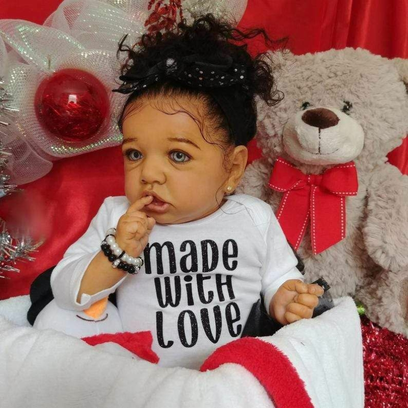 New 22 Inch Reborn Baby Dolls Sweet Lifelike Newborn Babies Doll Soft Silicone Real Black Baby Bonecas Hot Toys For Kid Birthday