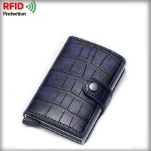 Fashion PU Leather Business ID Card Case Black Business Card Holder RFID Men Women Aluminum Credit Bag ID Passport Card Wallet