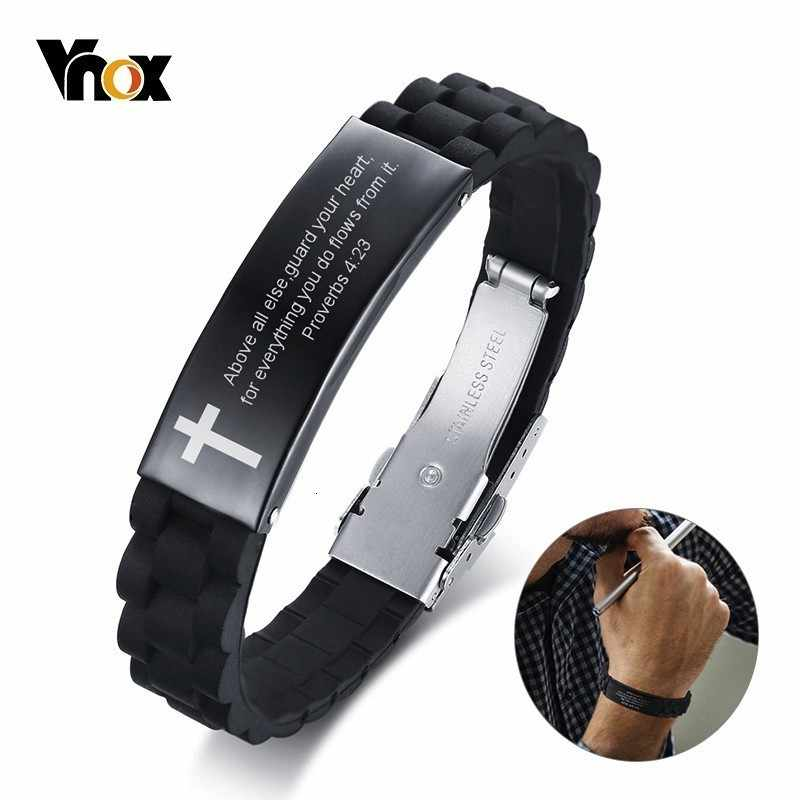 Vnox Religious Cross Jesus Scripture Quote Christian Bible Verse Inspiring Faith Silicone Bracelets for Men Personalize Gift